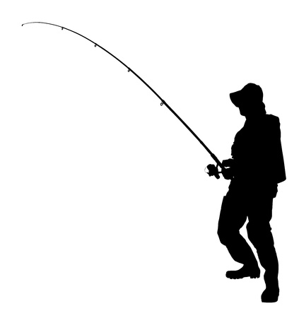 fishing tackle: A silhouette of a fisherman holding a fishing pole isolated on white background Stock Photo