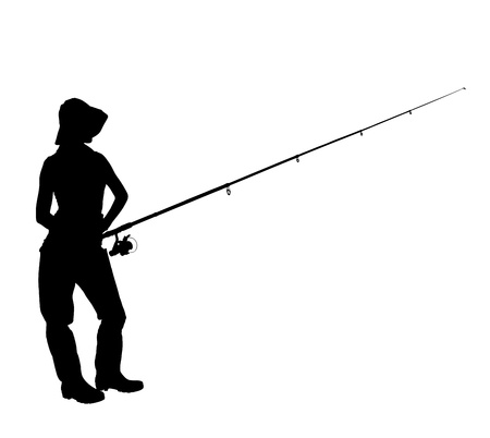 fishing pole: A silhouette of a fisherwoman holding a fishing pole isolated on white background