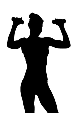 A silhouette of a young attractive woman exercising with dumbbels isolated on white background