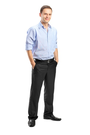 Full length portrait of a smiling man looking at camera with confidence, isolated against white background