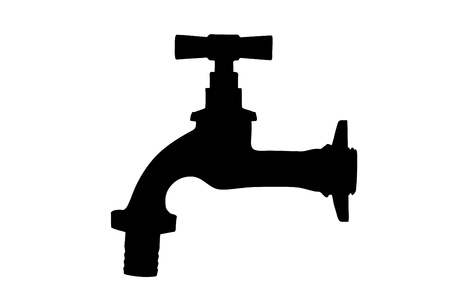 watertap: Silhouette of a faucet isolated on white background