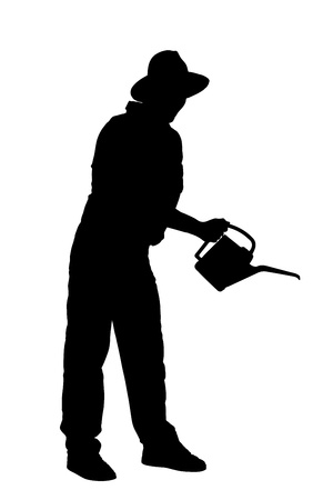 gardening tool: Silhouette of a person with holding a watering can isolated on white background