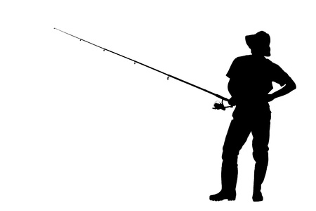 fishing pole: A silhouette of a fisherman holding a fishing pole isolated against white background