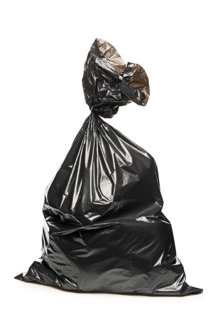 garbage bin: A studio shot of a garbage bag isolated on white background Stock Photo