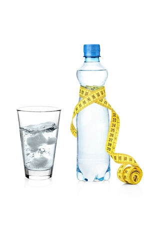 A yellow measure tape wrapped around a bottle and glass of water isolated on white background photo