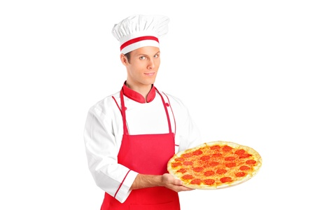 A studio shot of a young chef holding a pizza isolated on white background Stock Photo - 10844296