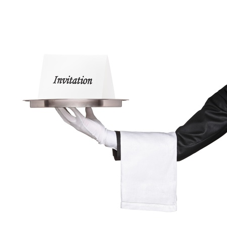 detail invitation: Waiter holding a tray with an invitation isolated on white background