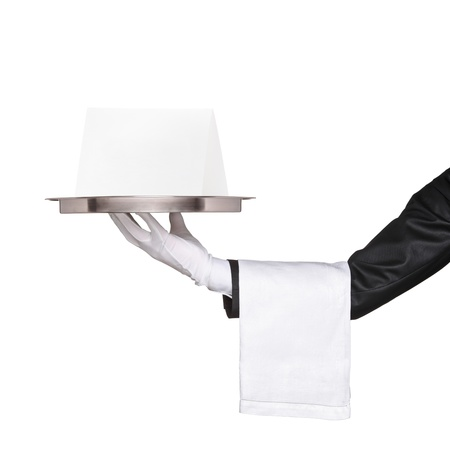 work glove: Waiter holding a tray with blank card for your text and announcement isolated on white background