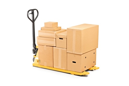 A fork pallet truck stacker with stack of boxes isolated on white background Stock Photo - 10920877