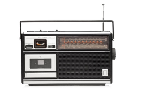 A studio shot of a retro styled radio isolated on white background photo
