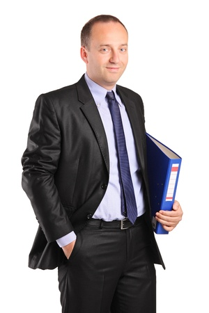 fascicule: A portrait of a happy businessman holding a folder with documents isolated on white background