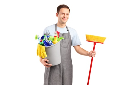 A smiling cleaner isolated on white background photo