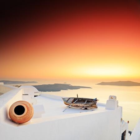 aegean: A sunset over Santorini island, Greece