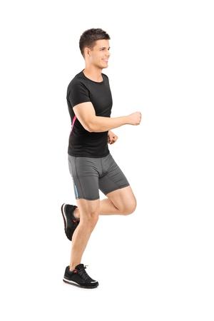 ropa deportiva: Hombre corriendo aisladas sobre fondo blanco