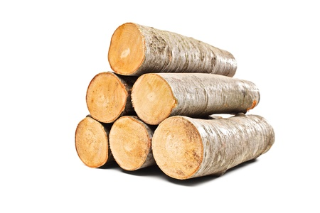 log on: Pile of beech firewood isolated on white background Stock Photo