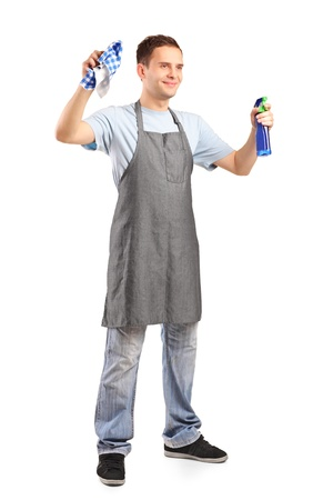 cleaning equipment: Full length portrait of a young cleaner holding a cleaning supplies isolated on white background