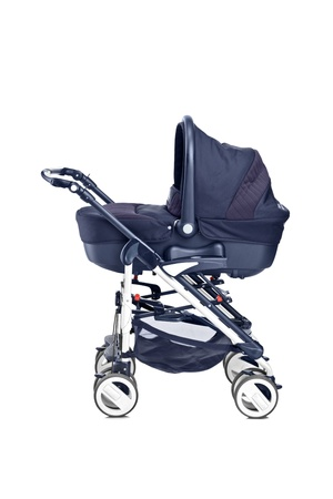 A studio shot of a modern baby stroller isolated against white background photo