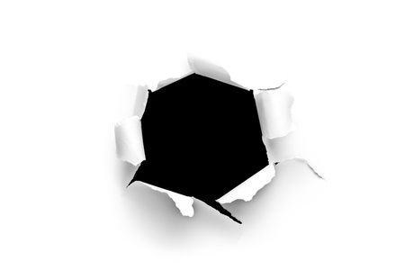 hole in wall: Sheet of paper with a round hole with black background inside