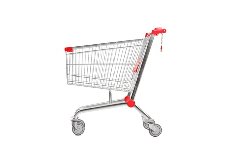 shoppingcart: A studio shot of an empty shopping cart isolated against white background Stock Photo