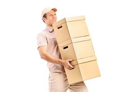 A delivery person delivering boxes isolated on white background photo