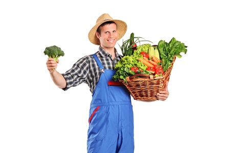 A male farmer holding a basket full of vegetables isolated on white background photo