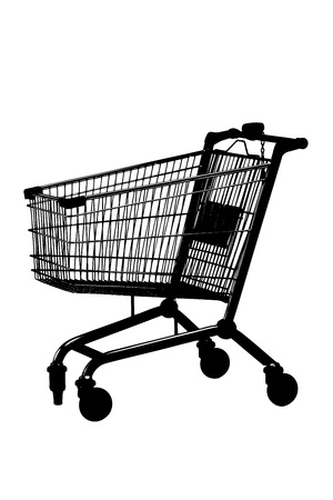 shopping trolley: A silhouette of an empty shopping cart isolated against white background Stock Photo