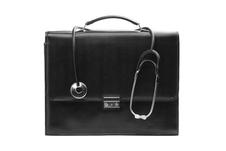 closeup on bags: A studio shot of a medical case with a stethoscope isolated on white background