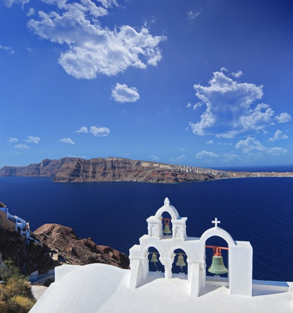 Church bells on Santorini island, Greece photo
