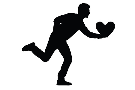 white pillow: Silhouette of a young man running with a heart shaped pillow in his hand isolated on white background