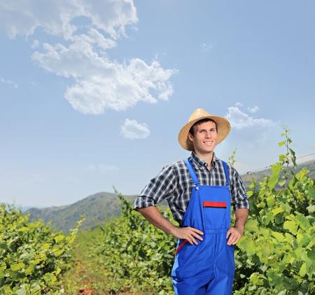A male vintner posing at vineyard, Macedonia photo