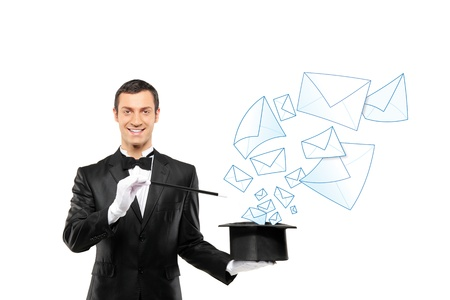 hat cap: Smiling magician and mails coming out of a top hat isolated on white background