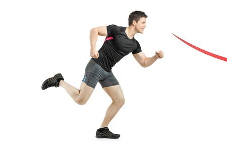 achievment: Athlete running towards the finish line isolated on white background Stock Photo