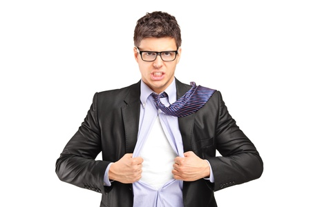 open shirt: Superhero businessman opening blue shirt, blank white t-shirt underneath provides excellent copy space for your image, text or logo Stock Photo