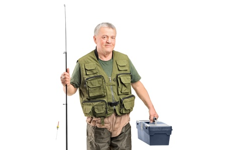 fisher: A mature fisherman holding a fishing equipment isolated on white background