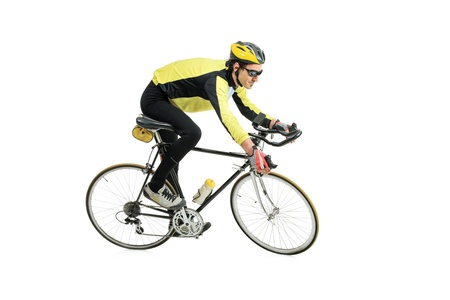 cycle race: A young man riding a bicycle isolated against white background