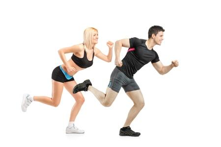 achievment: Athletes running isolated on white background Stock Photo
