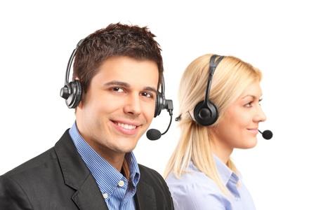 servicio al cliente: Los operadores de servicio al cliente aisladas sobre fondo blanco Foto de archivo