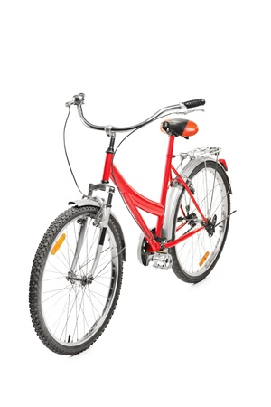 A studio shot of a bicycle isolated on white background photo