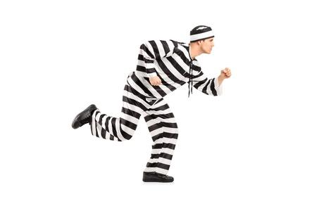 fraudster: Ritratto di lunghezza completa di un prigioniero escape isolato su sfondo bianco