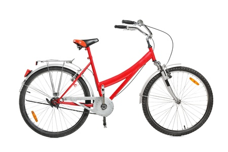 bicycle pedal: A studio shot of a bicycle isolated against white background