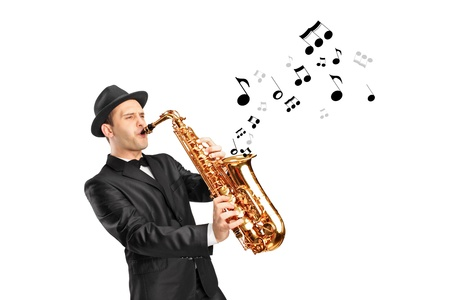 A man playing on saxophone and notes coming out isolated against background photo