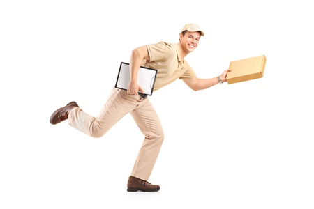 Delivery boy in a rush delivering a package isolated against white background photo