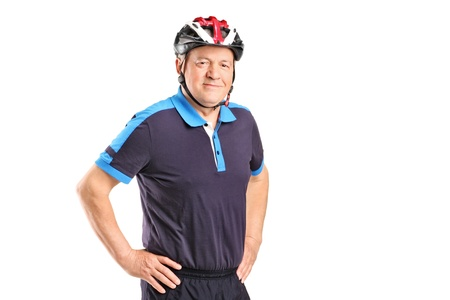 Portrait of a senior athlete wearing helmet isolated on white background photo