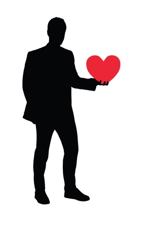 full length portrait: Illustration of a full length portrait of a man holding a heart shaped object isolated on white background