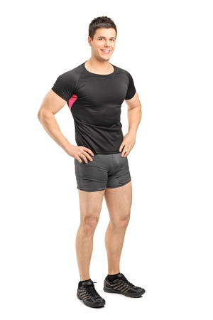 In voller Länge Portrait eines männlichen Athleten posieren auf weißem Hintergrund Standard-Bild - 13227396