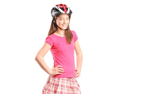 A portrait a happy girl wearing sport helmet isolated on white background Stock Photo - 13293642