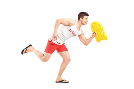 the bather: Lifeguard running isolated on white background