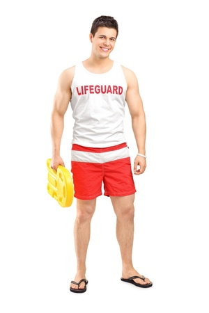 lifeguard: Full length portrait of a smiling lifeguard on duty posing isolated on white background