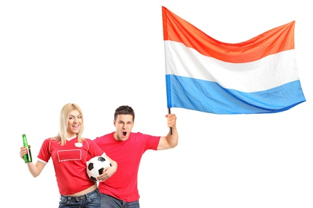 supporter: Male and female euphoric fans with beer bottle, football and dutch flag isolated on white background