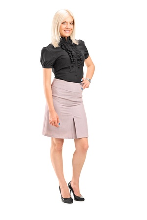 formal wear clothing: Full length portrait of an attractive woman posing isolated against white background Stock Photo